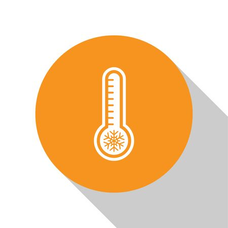 White Meteorology thermometer measuring heat and cold icon isolated on white background. Thermometer equipment showing hot or cold weather. Orange circle button. Vector Illustration