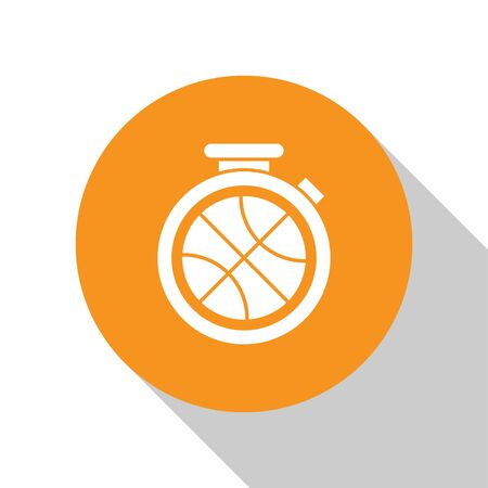 White Stopwatch with basketball ball inside icon isolated on white background. Basketball time. Sport and training. Orange circle button. Vector Illustration Stok Fotoğraf - 134679687