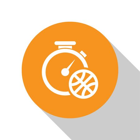 White Stopwatch with basketball ball inside icon isolated on white background. Basketball time. Sport and training. Orange circle button. Vector Illustration Stok Fotoğraf - 134679764