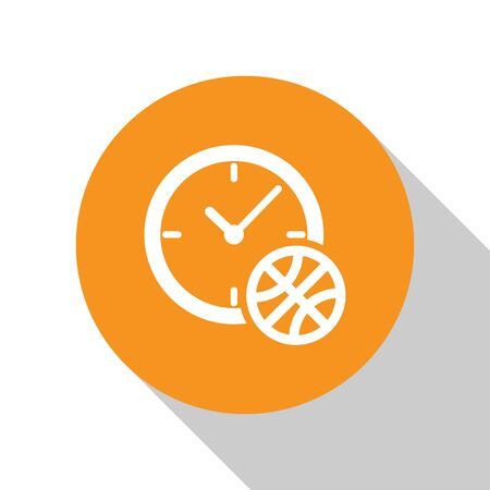 White Clock with basketball ball inside icon isolated on white background. Basketball time. Sport and training. Orange circle button. Vector Illustration Stok Fotoğraf - 134674349