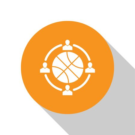 White Clock with basketball ball inside icon isolated on white background. Basketball time. Sport and training. Orange circle button. Vector Illustration Stok Fotoğraf - 134679765