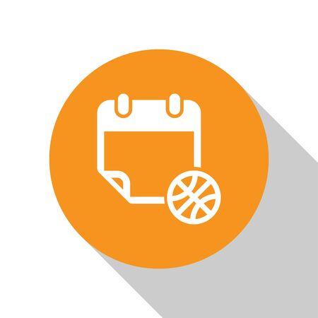 White Basketball on sport calendar icon isolated on white background. Orange circle button. Vector Illustration Stok Fotoğraf - 134679802