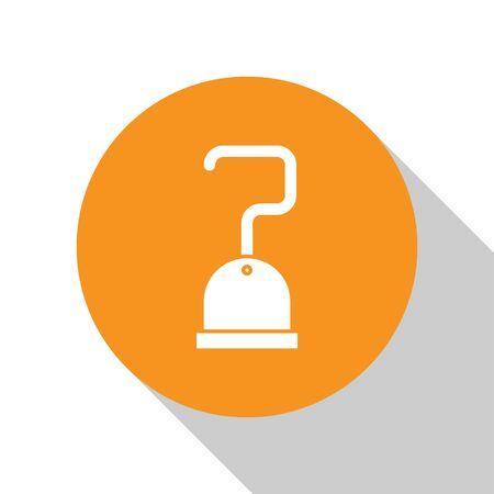 White Pirate hook icon isolated on white background. Orange circle button. Vector Illustration Standard-Bild - 134679812