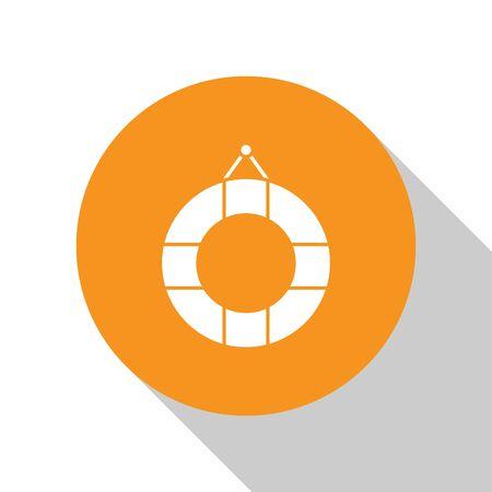 White Lifebuoy icon isolated on white background. Lifebelt symbol. Orange circle button. Vector Illustration