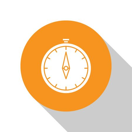 White Compass icon isolated on white background. Windrose navigation symbol. Wind rose sign. Orange circle button. Vector Illustration