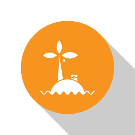 White Tropical island in ocean icon isolated on white background. Landscape with ocean and palm trees. Travel. Orange circle button. Vector Illustration