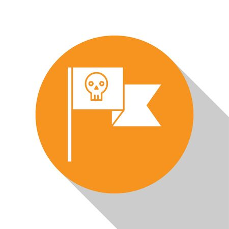 White Pirate flag with skull icon isolated on white background. Orange circle button. Vector Illustration