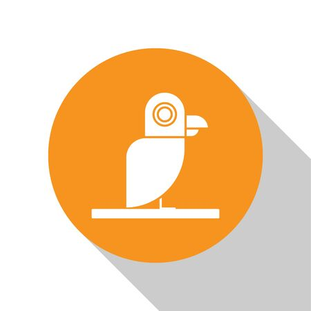 White Pirate parrot icon isolated on white background. Orange circle button. Vector Illustration Illustration
