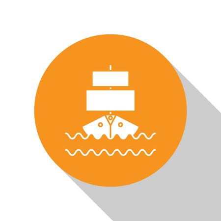 White Ship icon isolated on white background. Orange circle button. Vector Illustration