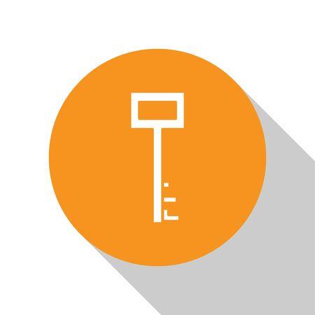 White Pirate key icon isolated on white background. Orange circle button. Vector Illustration