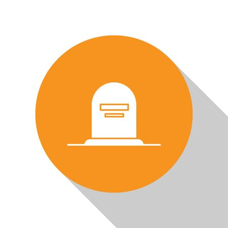 White Tombstone with RIP written on it icon isolated on white background. Grave icon. Orange circle button. Vector Illustration