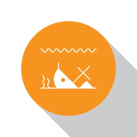 White Sunken ship at the bottom of the sea icon isolated on white background. Orange circle button. Vector Illustration