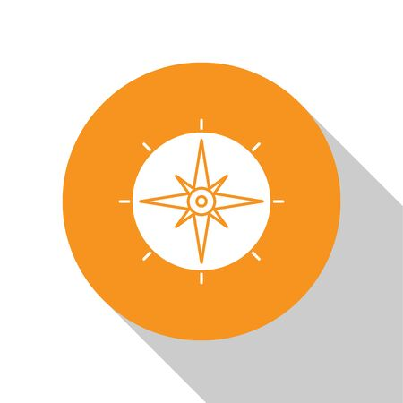 White Wind rose icon isolated on white background. Compass icon for travel. Navigation design. Orange circle button. Vector Illustration Çizim