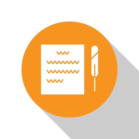 White Feather pen and paper scroll icon isolated on white background. Orange circle button. Vector Illustration