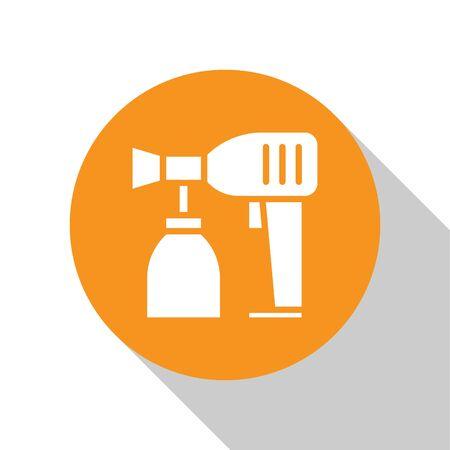 White Paint spray gun icon isolated on white background. Orange circle button. Vector Illustration Stockfoto - 134679859