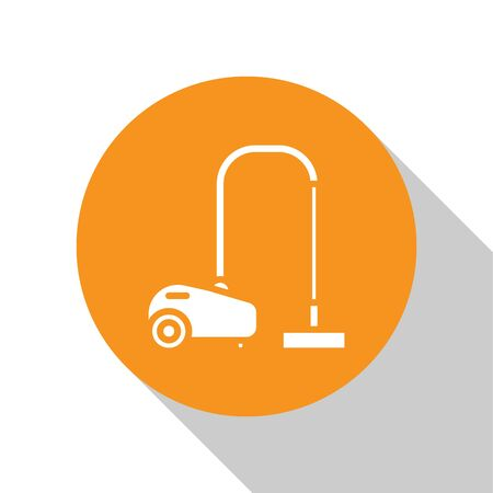 White Vacuum cleaner icon isolated on white background. Orange circle button. Vector Illustration