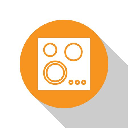 White Gas stove icon isolated on white background. Cooktop sign. Hob with four circle burners. Orange circle button. Vector Illustration Vettoriali