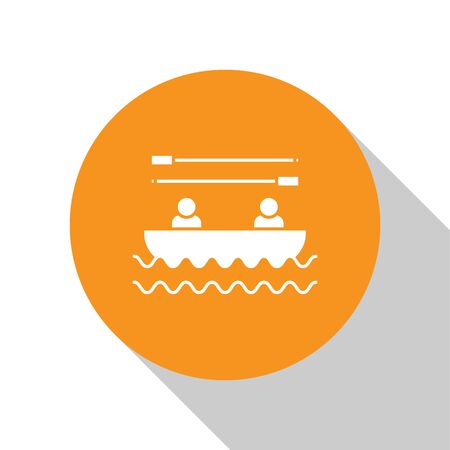 White Boat with oars and people icon isolated on white background. Water sports, extreme sports, holiday, vacation, team building. Orange circle button. Vector Illustration