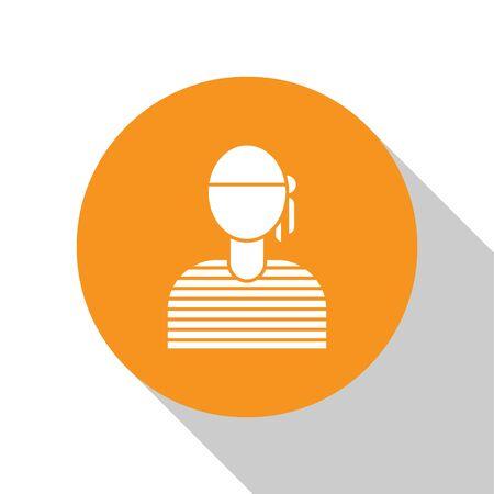 White Sailor captain icon isolated on white background. Orange circle button. Vector Illustration
