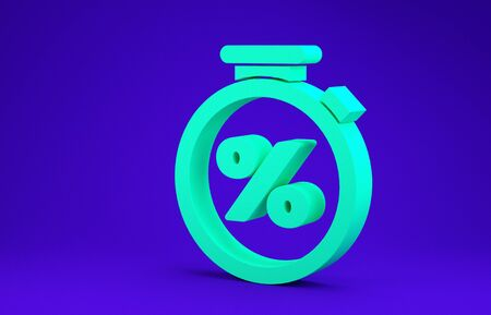Green Stopwatch and percent discount icon isolated on blue background. Time timer sign. Minimalism concept. 3d illustration 3D render