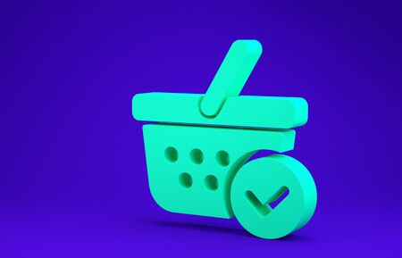 Green Shopping basket with check mark icon isolated on blue background. Supermarket basket with approved, confirm, tick, completed symbol. Minimalism concept. 3d illustration 3D render