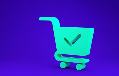 Green Shopping cart with check mark icon isolated on blue background. Supermarket basket with approved, confirm, done, tick, completed symbol. Minimalism concept. 3d illustration 3D render