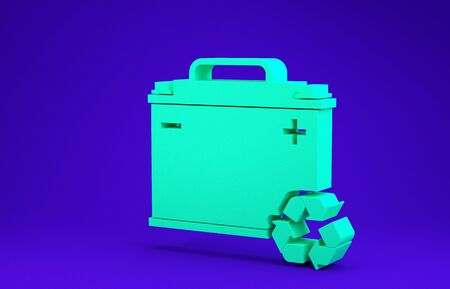 Green Car battery with recycle icon isolated on blue background. Accumulator battery energy power and electricity accumulator battery. Minimalism concept. 3d illustration 3D render