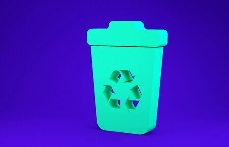 Green Recycle bin with recycle symbol icon isolated on blue background. Trash can icon. Garbage bin sign. Recycle basket sign. Minimalism concept. 3d illustration 3D render Stock Illustration - 134734972
