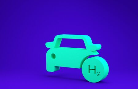 Green Hydrogen car icon isolated on blue background. H2 station sign. Hydrogen fuel cell car eco environment friendly zero emission. Minimalism concept. 3d illustration 3D render 写真素材