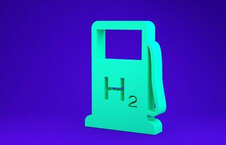 Green Hydrogen filling station icon isolated on blue background. H2 station sign. Minimalism concept. 3d illustration 3D render