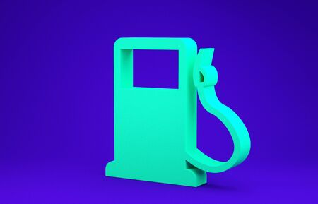 Green Petrol or Gas station icon isolated on blue background. Car fuel symbol. Gasoline pump. Minimalism concept. 3d illustration 3D render 写真素材