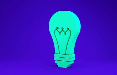Green Light bulb icon isolated on blue background. Energy and idea symbol. Lamp electric. Minimalism concept. 3d illustration 3D render Banco de Imagens