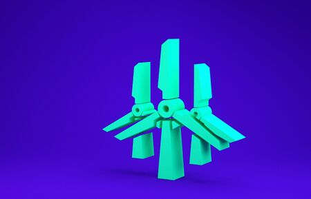 Green Wind turbines icon isolated on blue background. Wind generator sign. Windmill silhouette. Windmills for electric power production. Minimalism concept. 3d illustration 3D render 스톡 콘텐츠