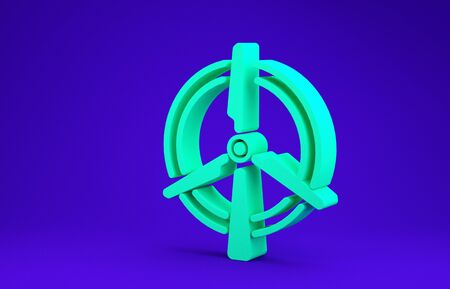 Green Rotating wind turbine icon isolated on blue background. Wind generator sign. Windmill for electric power production. Minimalism concept. 3d illustration 3D render
