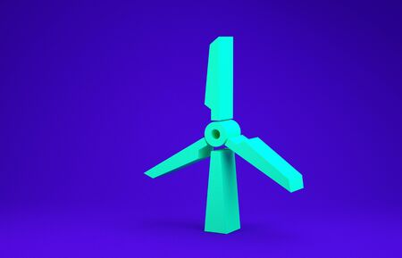Green Wind turbine icon isolated on blue background. Wind generator sign. Windmill silhouette. Windmill for electric power production. Minimalism concept. 3d illustration 3D render