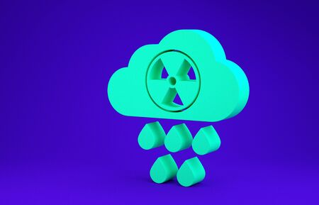 Green Acid rain and radioactive cloud icon isolated on blue background. Effects of toxic air pollution on the environment. Minimalism concept. 3d illustration 3D render