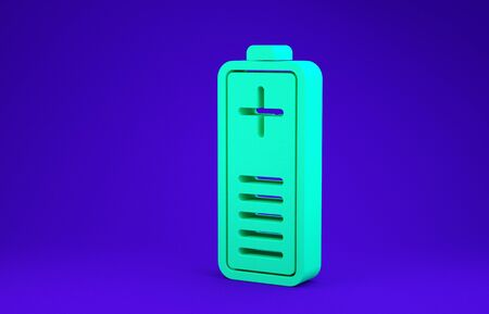 Green Battery charge level indicator icon isolated on blue background. Minimalism concept. 3d illustration 3D render