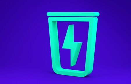 Green Lightning with trash can icon isolated on blue background. Waste to energy. Garbage bin sign. Recycle basket sign. Minimalism concept. 3d illustration 3D render Stock Illustration - 134735225