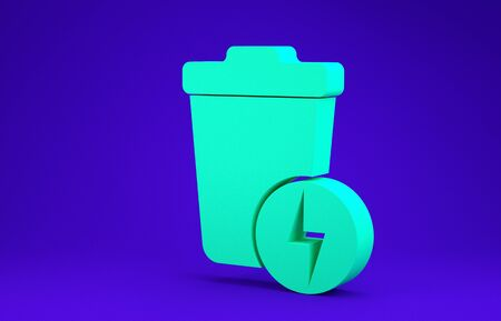 Green Lightning with trash can icon isolated on blue background. Waste to energy. Garbage bin sign. Recycle basket sign. Minimalism concept. 3d illustration 3D render Stock Illustration - 134735221