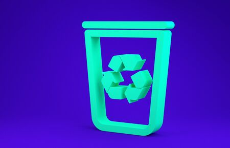 Green Recycle bin with recycle symbol icon isolated on blue background. Trash can icon. Garbage bin sign. Recycle basket sign. Minimalism concept. 3d illustration 3D render Stock Illustration - 134735299