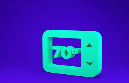 Green Thermostat icon isolated on blue background. Temperature control. Minimalism concept. 3d illustration 3D render