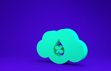 Green Humidity icon isolated on blue background. Weather and meteorology, cloud, thermometer symbol. Minimalism concept. 3d illustration 3D render 스톡 콘텐츠