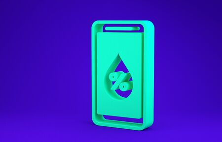 Green Humidity for smart home icon isolated on blue background. Weather and meteorology, thermometer symbol. Minimalism concept. 3d illustration 3D render