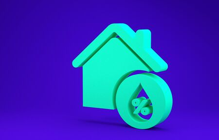 Green House humidity icon isolated on blue background. Weather and meteorology, thermometer symbol. Minimalism concept. 3d illustration 3D render