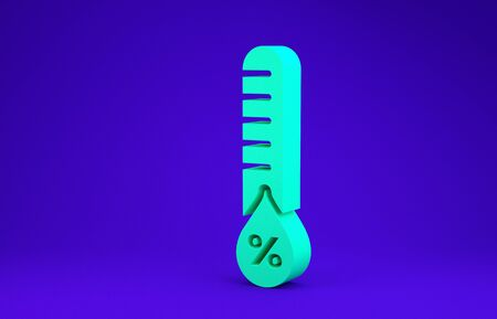 Green Humidity icon isolated on blue background. Weather and meteorology, thermometer symbol. Minimalism concept. 3d illustration 3D render