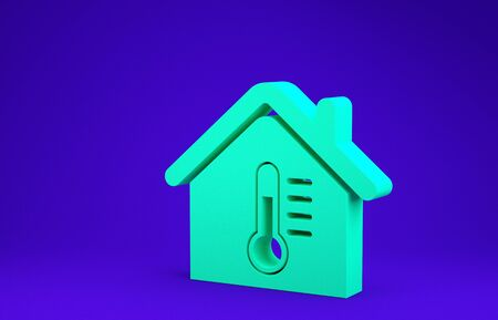 Green House temperature icon isolated on blue background. Thermometer icon. Minimalism concept. 3d illustration 3D render