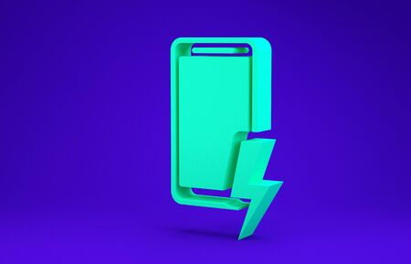 Green Smartphone charging battery icon isolated on blue background. Phone with a low battery charge. Minimalism concept. 3d illustration 3D render