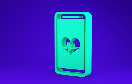 Green Smartphone with heart rate monitor function icon isolated on blue background. Minimalism concept. 3d illustration 3D render Stock Illustration - 134735374
