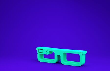 Green Smart glasses mounted on spectacles icon isolated on blue background. Wearable electronics smart glasses with camera and display. Minimalism concept. 3d illustration 3D render