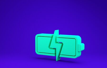 Green Battery icon isolated on blue background. Lightning bolt symbol. Minimalism concept. 3d illustration 3D render 版權商用圖片
